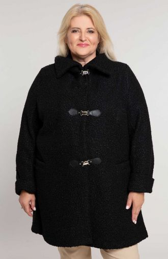 Długi płaszczyk bouclé w czarnym kolorze