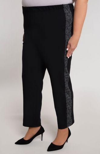 Czarne spodnie z brokatowym lampasem