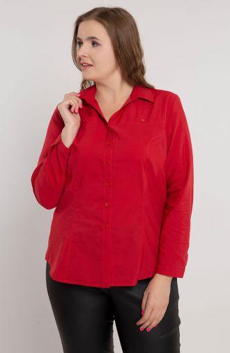 Klasyczna czerwona koszula dekolt V