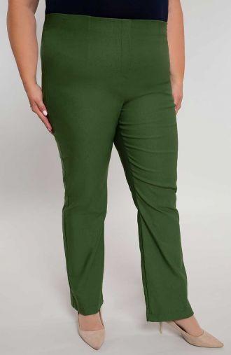 Dłuższe proste spodnie w kolorze oliwki