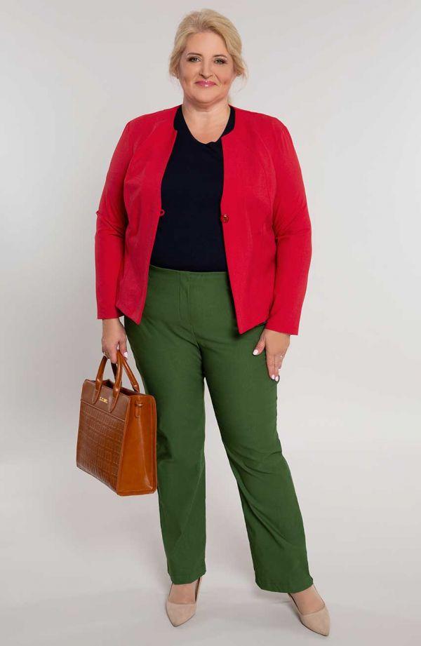 Dłuższe proste spodnie plus size dla puszystych w kolorze oliwki