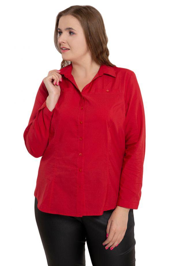 Bluzki damskie duże rozmiary - klasyczna czerwona koszula dekolt V