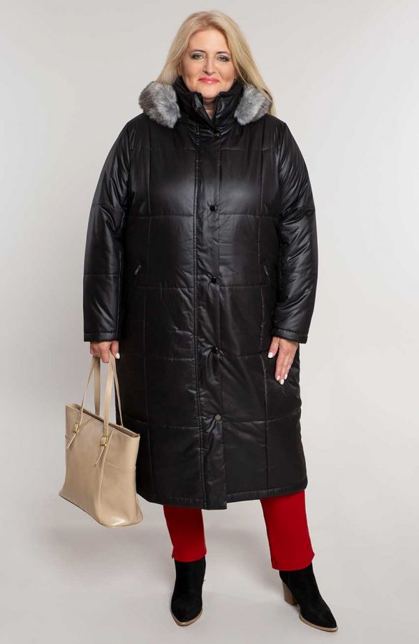 Czarna ocieplana długa kurtka z kapturem