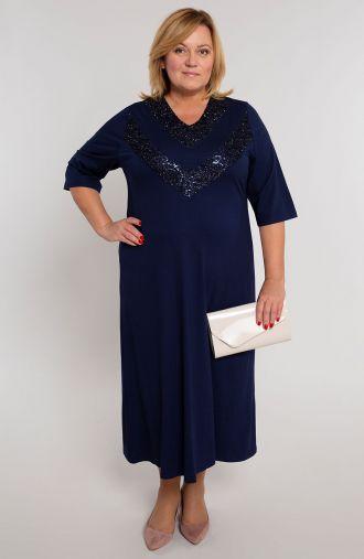 Granatowa sukienka z dekoltem w cekiny