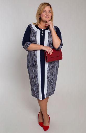 Granatowa sukienka w zeberkowe paski