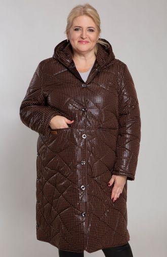 Długa brązowa kurtka z przeszyciami