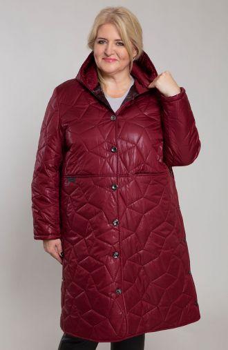 Długa bordowa kurtka z przeszyciami