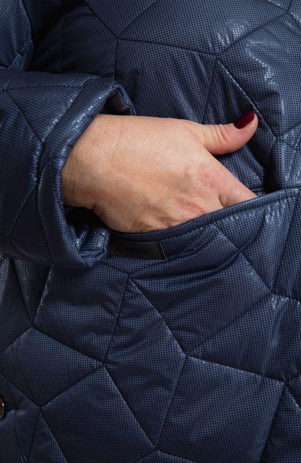 Długa granatowa kurtka z przeszyciami