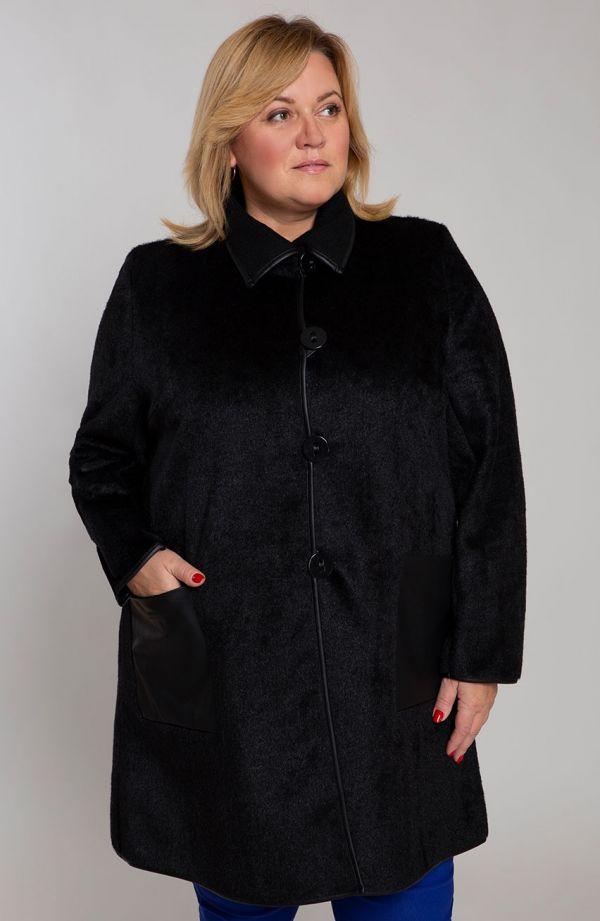 Przejściowy płaszcz ze skórzanym akcentem