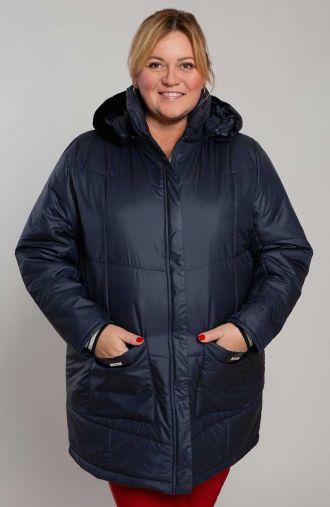 Granatowa ciepła kurtka z kapturem
