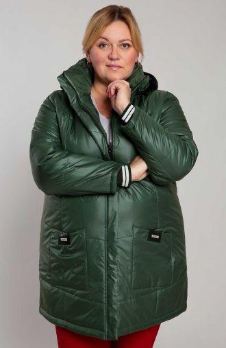 Zielona ciepła kurtka z kapturem