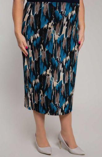 Niebieska spódnica w pionową abstrakcję
