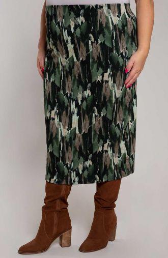 Zielona spódnica w pionową abstrakcję