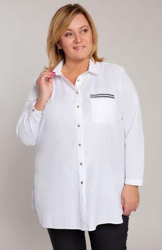 Długa biała koszula ze srebrnym akcentem