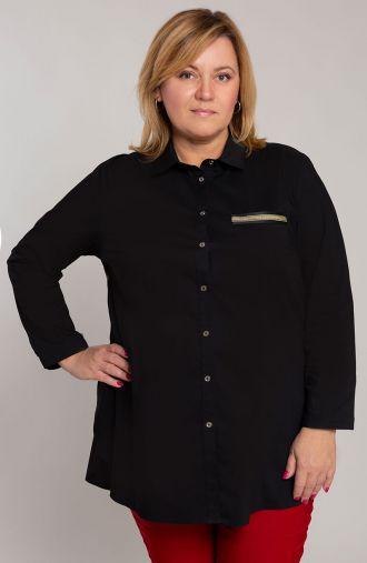 Długa czarna koszula ze złotym akcentem