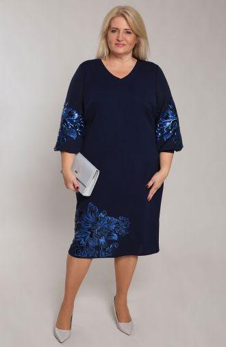 Granatowa sukienka z cekinowym motywem