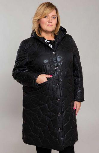 Długa czarna kurtka z przeszyciami