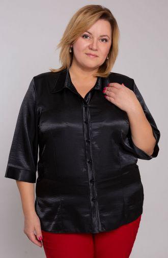 Czarna atłasowa koszula z kołnierzykiem