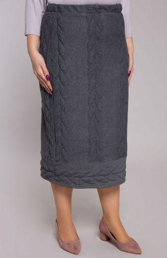 Szara spódnica z warkoczem