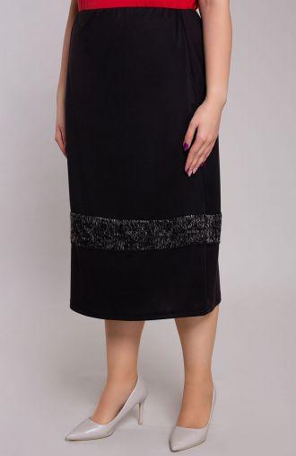 Czarna spódnica z szarym pasem