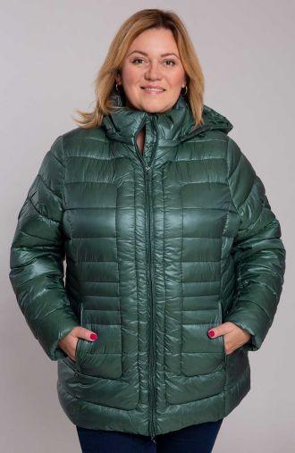 Zielona kurtka z poziomymi przeszyciami