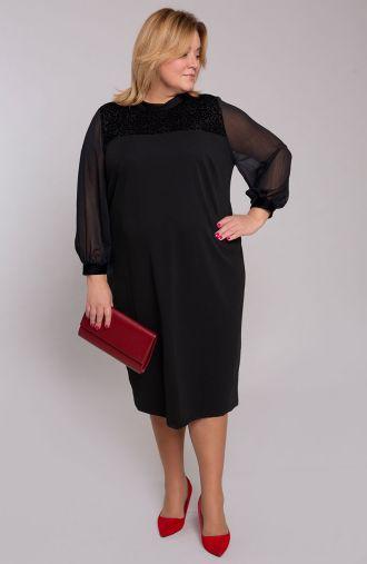 Czarna sukienka z panterkowym karczkiem