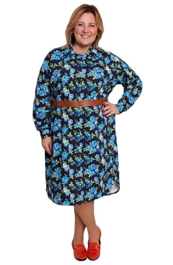 Sukienka koszulowa w niebieskie kwiaty