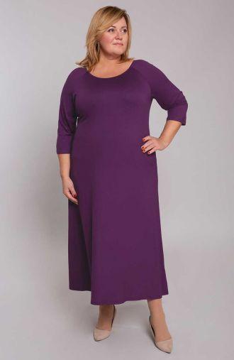 Długa fioletowa sukienka z dzianiny