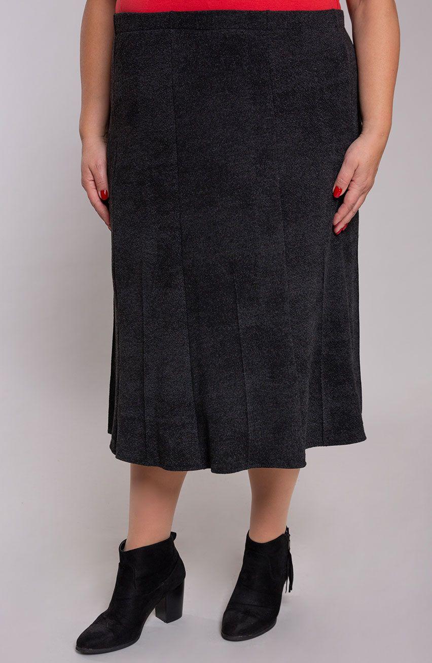 Rozkloszowana spódnica ciemny grafit