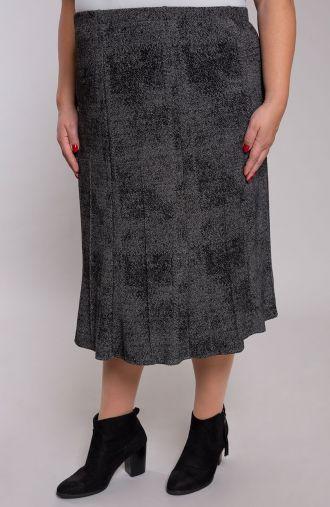 Rozkloszowana spódnica szare srebro