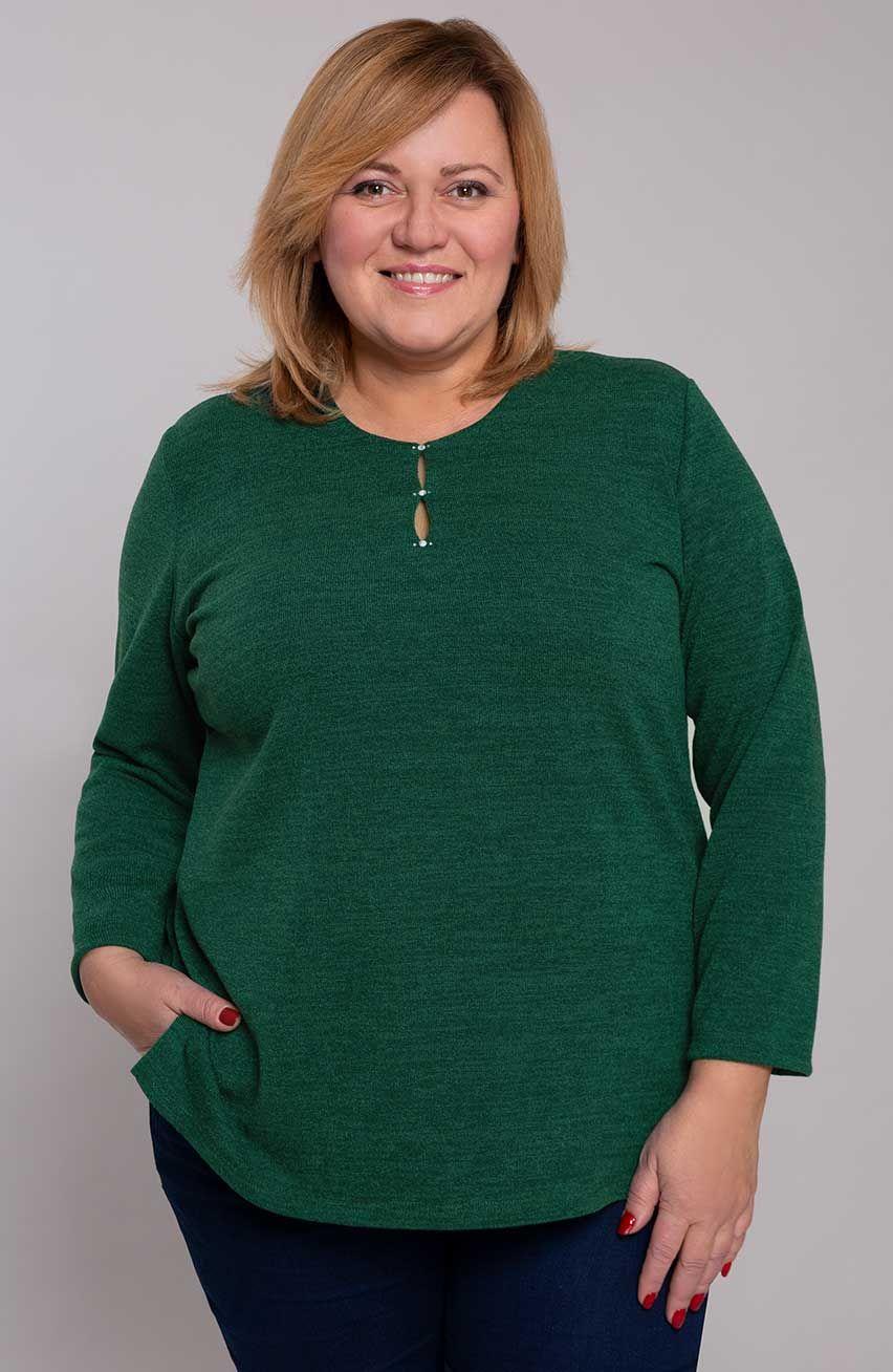 Zielony sweterek z ażurowym dekoltem