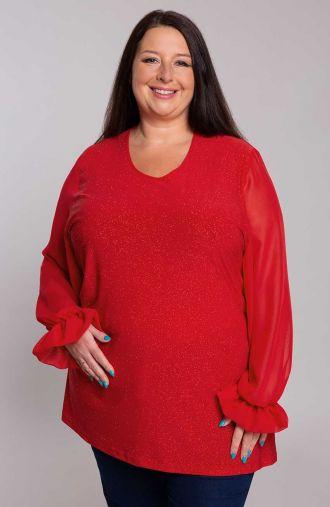 Brokatowa czerwona tunika z szyfonem