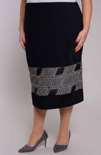 Czarna spódnica z pasem w romby