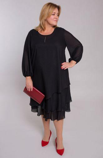 Czarna sukienka ze srebrnymi kropkami
