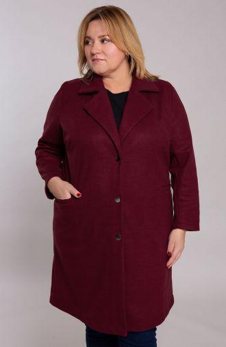 Klasyczny bordowy płaszcz z flauszu