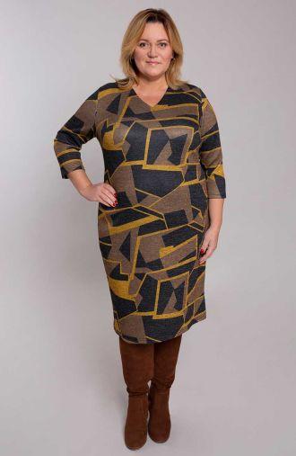 Prosta sukienka brokatowa ruda geometria