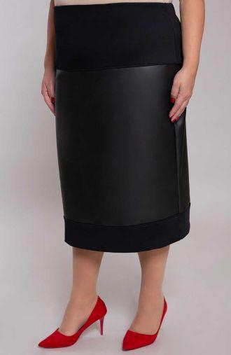 Ciepła czarna spódnica ze skóry