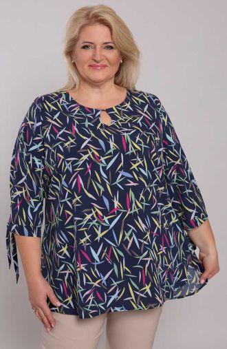 Granatowa elegancka bluzka w listki