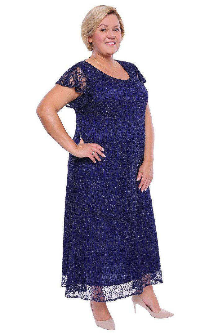 dluga sukienka w kolorze pruskiego blekitu Modne duże rozmiary