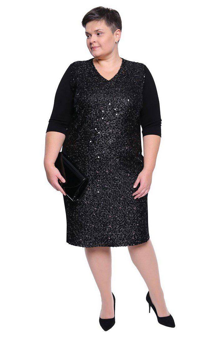 be6e163b czarna-sukienka-z-cekinami - Modne duże rozmiary