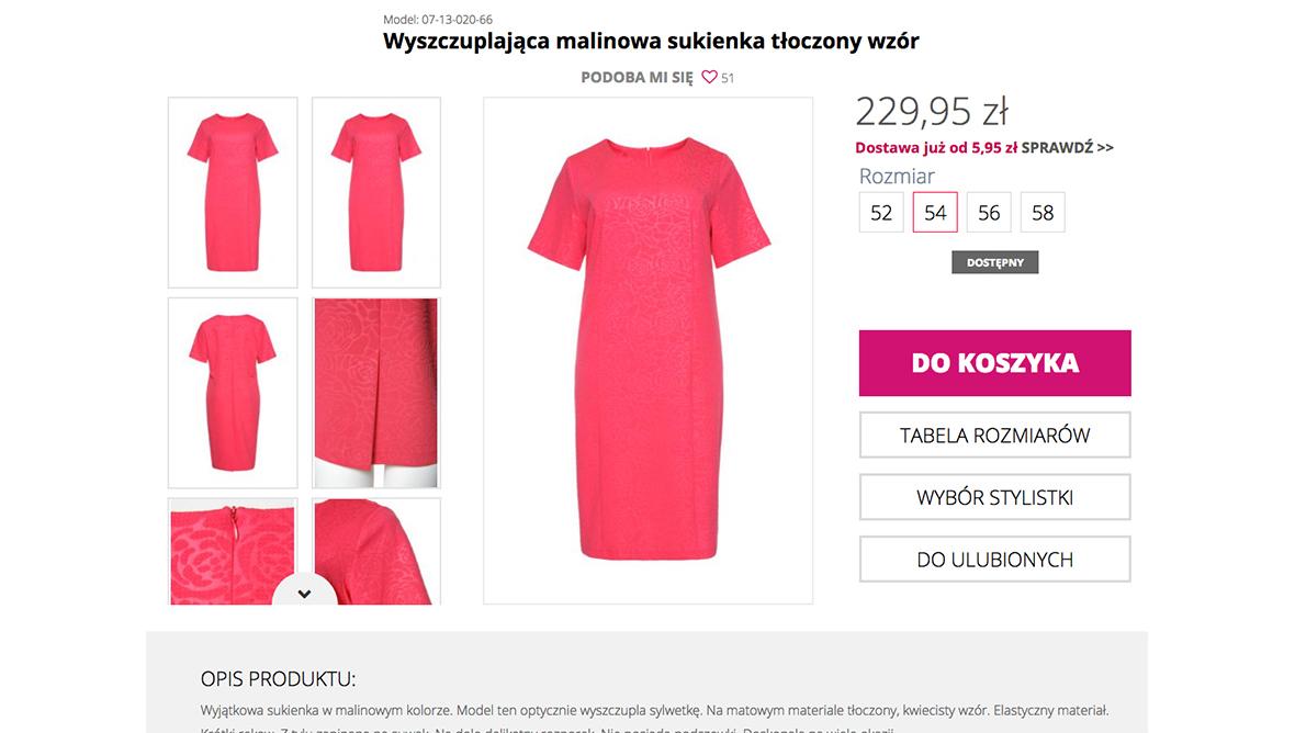 Wybierz produkt i rozmiar w sklepie Modne Duże Rozmiary